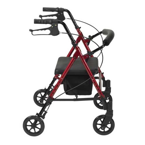 Height Adjustable Aluminium Rollator [Colour: Red]